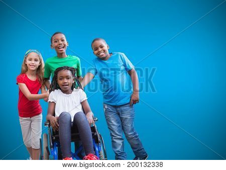 Digital composite of Disabled girl in wheelchair with friends and blue background