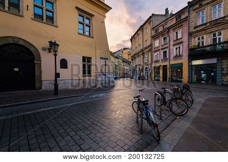 Old streets in Krakow. Poland in the early morning.