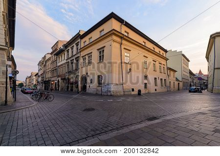 Crossroads in old Krakow. Poland in the early morning.
