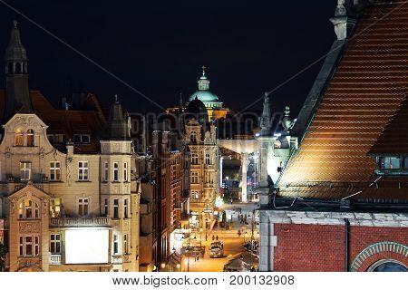 Nightly air view panorama of Katowice Poland. Europe.