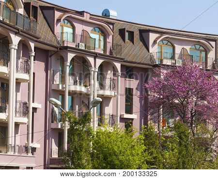 SAINTS CONSTANTINE AND HELENA, BULGARIA - APRIL 27, 2015: modern appart buildin gin Saints Constantine and Helena, the oldest first sea resort of Bulgaria, exists from 19 century.