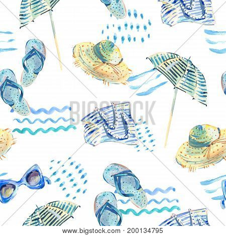 Summer watercolor seamless pattern. Watercolor hand painted abstract texture with summer beach objects umbrella, bag, sunglasses, flip flops on white background. Fashion design elements