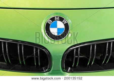 Bmw Logo On Green Lime Hood Of Presentable Luxury Car