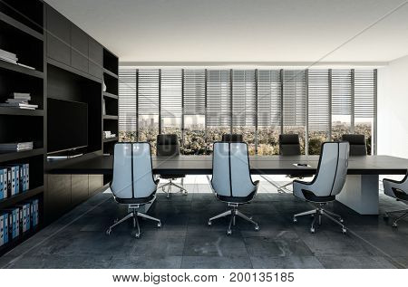 Stylish modern business boardroom interior with black and grey decor and molded swivel chairs overlooking view windows. 3d Rendering.
