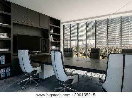 Elegant boardroom interior with modern swivel chairs around a black table built in to a wall unit with shelves and monitor. 3d Rendering.