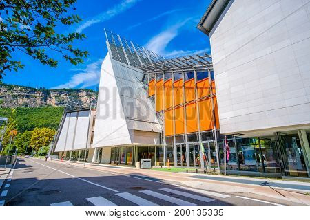 Trento Italy 14 Aug 2017: exterior of MUSE modern museum of natural history - building designed by famous architect Renzo Piano