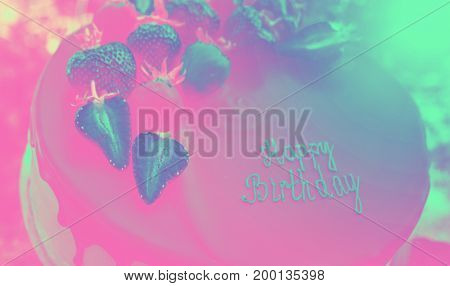 Birthday. Cake with chocolate and strawberry. Sweets and desserts.