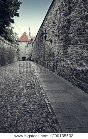 Old houses on the Old city streets. Tallinn. Estonia toning