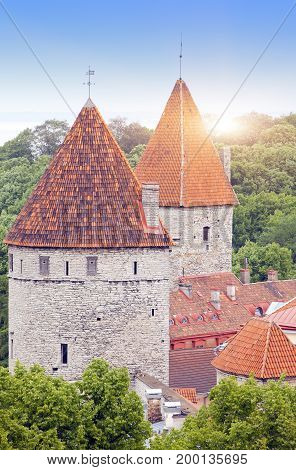 Medieval towers - part of the city wall. Tallinn Estonia