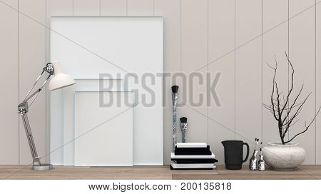 Blank white picture canvasses and paint brushes leaning up against a wooden wall in a design studio with copy space for your creative or interior decor concepts. 3d Rendering.