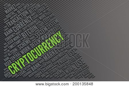 The word Cryptocurrency highlighted in fluorescent green writing amongst a series of other words in a word collage with grey copy space. 3d Rendering.