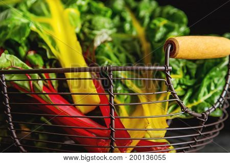 Rainbow Chard, Colorful Eating And Healthy Diets. Dark Backgroun