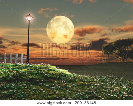 3d illustration of an old lamppost and the full moon