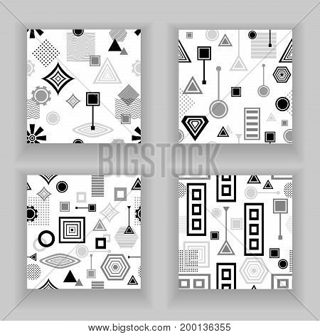 Set  Abstract seamless pattern from geometric form in postmodern Memphis Style black  grey on white for wallpaper or package or for clothes for decoration childish school subject or creative design