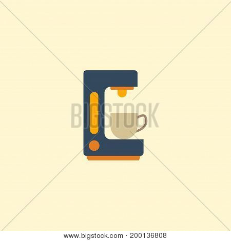 Flat Icon Coffeemaker Element. Vector Illustration Of Flat Icon Espresso Dispenser Isolated On Clean Background