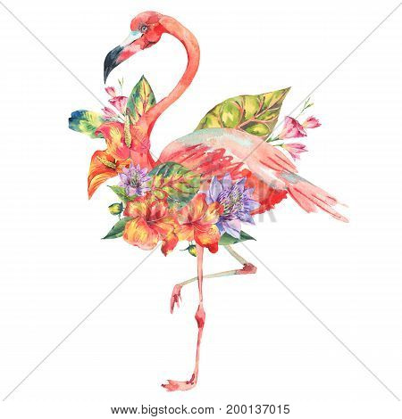 Watercolor pink flamingo and tropical flowers greeting card. Hand painted floral illustration with exotic flowers and birds isolated on white background. Fashion design elements