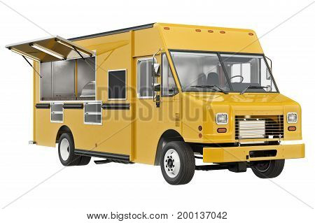 Food truck eatery cafe on wheels. 3D rendering