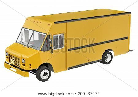 Food yellow car eatery on wheels. 3D rendering