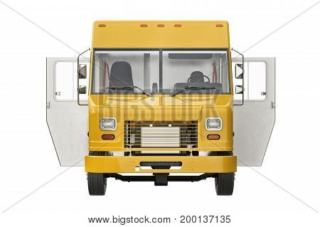 Food truck yellow eatery with open doors, front view. 3D rendering