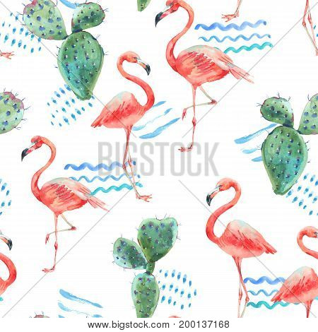 Watercolor pink flamingo and tropical flowers seamless pattern with abstract watercolor stains. Hand painted exotic floral cactus illustration, birds on white background.