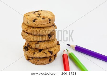 cookies and colored pencils