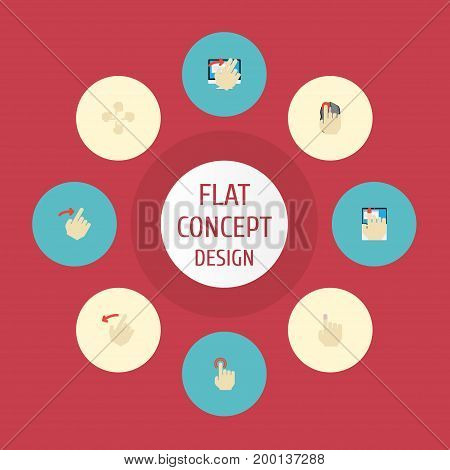 Flat Icons Hold, Rearward, Gesture And Other Vector Elements