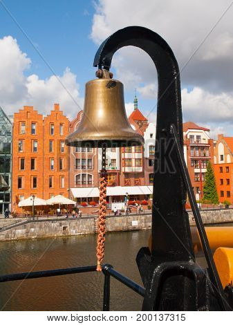 Old metal naval bell on a army ship.