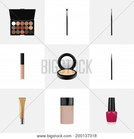 Realistic Brush, Make-Up Product, Multicolored Palette And Other Vector Elements