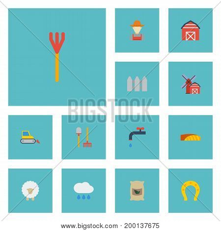 Flat Icons Lamb, Bulldozer, Cultivator And Other Vector Elements