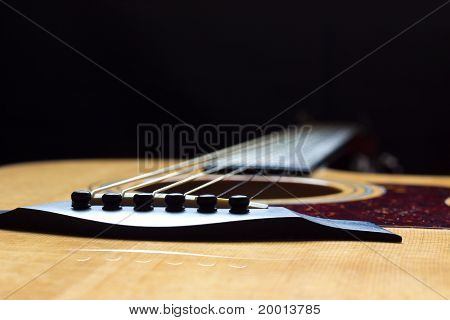 Acoustic Guitar viewed from the bridge