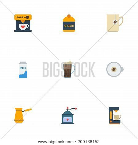 Flat Icons Paper Box, Espresso Dispenser, Latte And Other Vector Elements