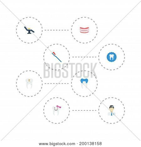 Flat Icons Orthodontist, Dental Crown, Decay And Other Vector Elements