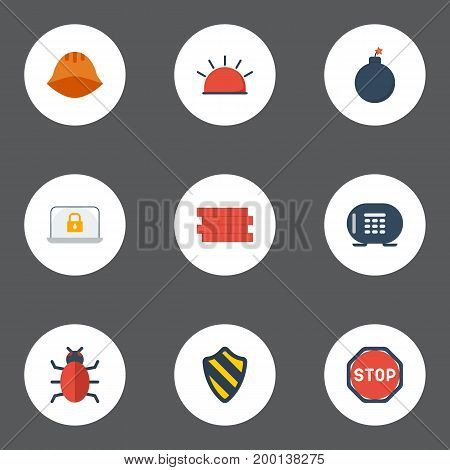 Flat Icons Lock, Road Sign, Hardhat And Other Vector Elements