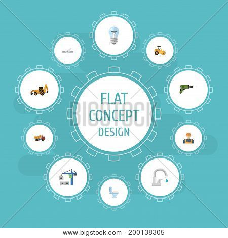 Flat Icons Bulb, Electric Screwdriver, Restroom And Other Vector Elements