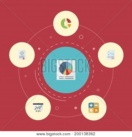 Flat Icons Act, Stock, Pie Bar And Other Vector Elements