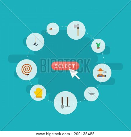 Flat Icons Axe, Grower, Hacksaw And Other Vector Elements