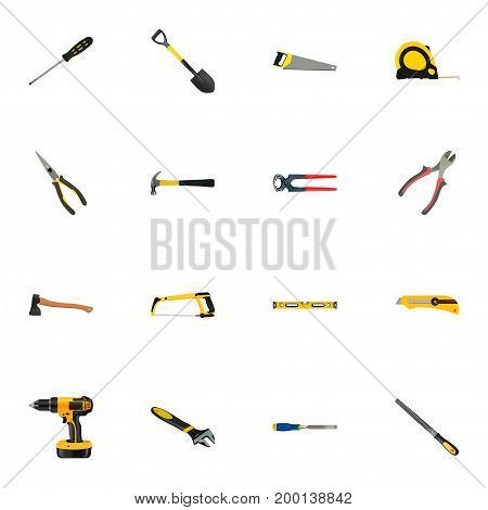 Realistic Electric Screwdriver, Stationery Knife, Tongs And Other Vector Elements