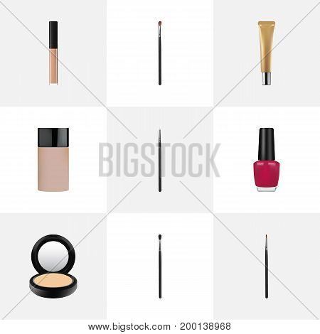 Realistic Make-Up Product, Varnish, Blusher And Other Vector Elements