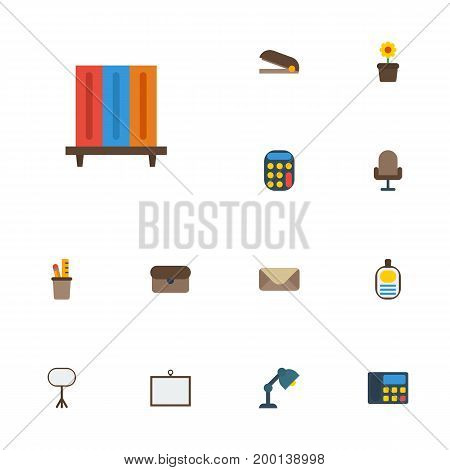 Flat Icons Desk Light, Puncher, Identification And Other Vector Elements