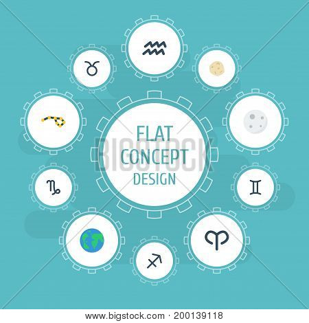 Flat Icons Twins, Water Bearer, Earth Planet And Other Vector Elements
