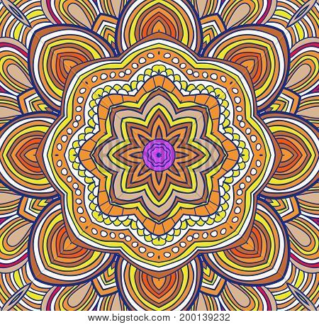 Illustration of an abstract colorful floral design. Aztec ethnic pattern. Cynco de mayo. Violet and yellow tracery.