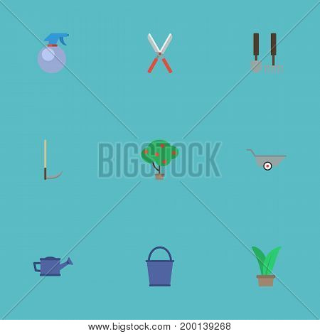 Flat Icons Plant, Green Wood, Watering Can And Other Vector Elements