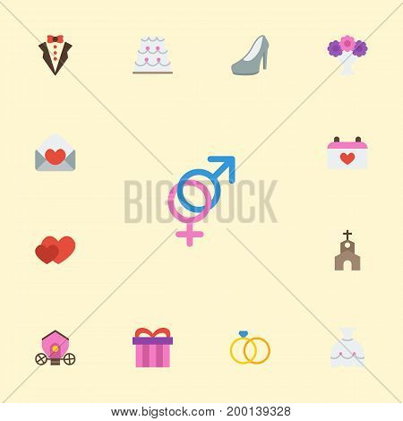 Flat Icons Calendar, Card, Sexuality Symbol And Other Vector Elements