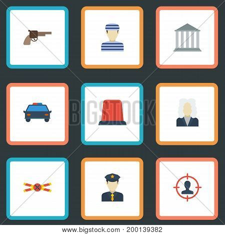 Flat Icons Policeman, Police Car, Building And Other Vector Elements