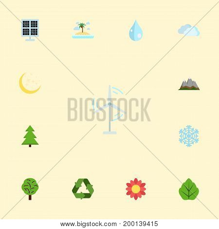 Flat Icons Wood, Electric Mill, Sun Power And Other Vector Elements