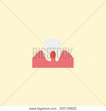 Flat Icon Parodontosis Element. Vector Illustration Of Flat Icon Gingivitis Isolated On Clean Background