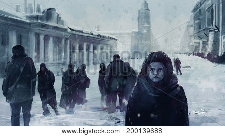 Illustration of a starving child on a front and people walking on winter streets of Leningrad siege during The Great Patriotic War.