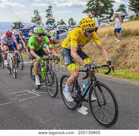 Col de Peyra Taillade France - July 162017: Chris Froome in Yellow Jersey climbing the last kilometer to Col de Peyra Taillade in the Central Massif during the stage 15 of Le Tour de France 2017.