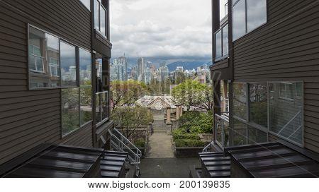 Concept development pat and present modern ddistrict Vancouver Canada cityscape
