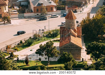 Gori, Shida Kartli Region, Georgia, Eurasia. Top View Of Temple of the Holy Archangels Church In Sunny Summer Day.